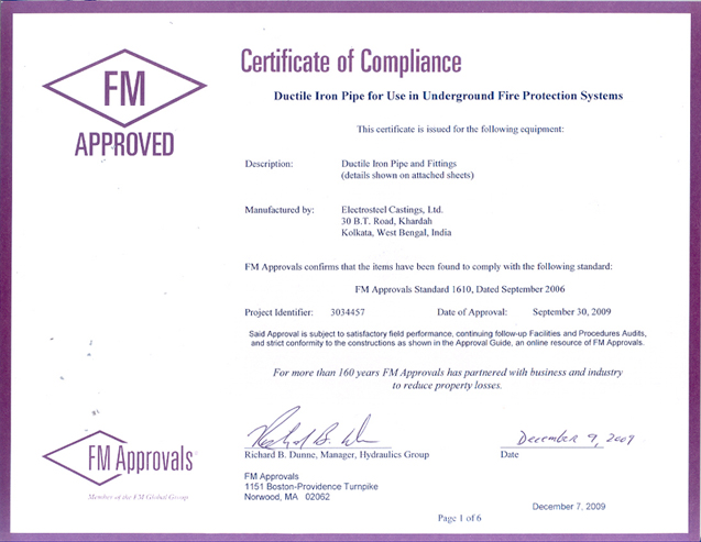 FM Certificate for AWWA Pipe and Fittings