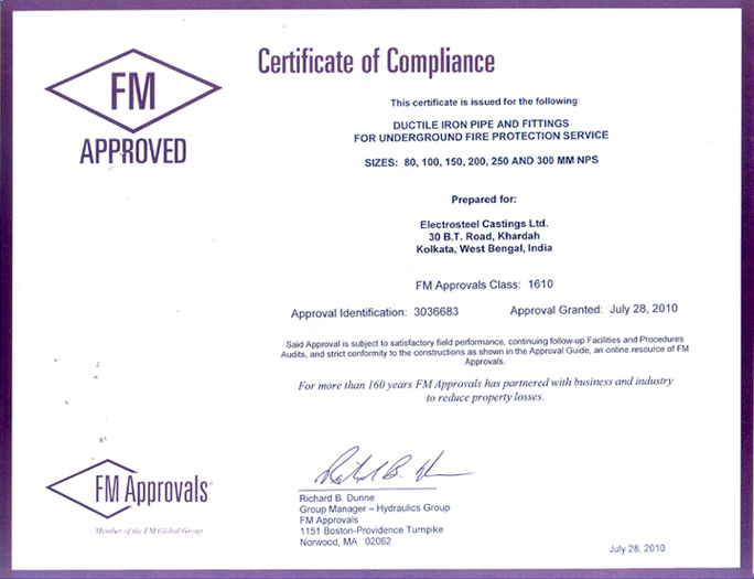 FM Certificate for MM Pipe and Fittings